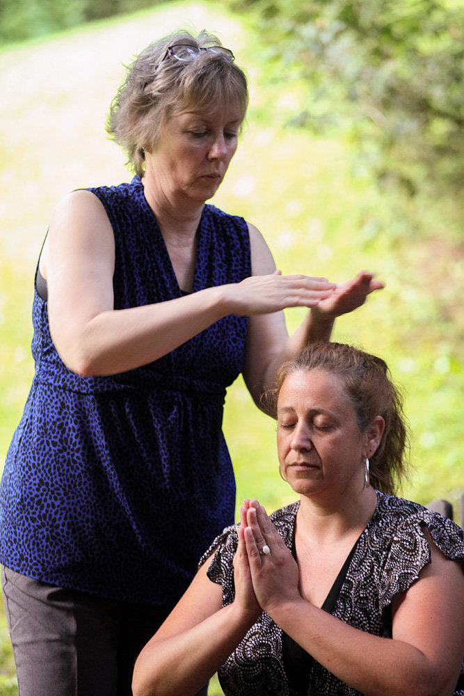 Genny receiving her Second Degree Reiki attunements from Reiki Master Susan Rouse Cobourg Ontario