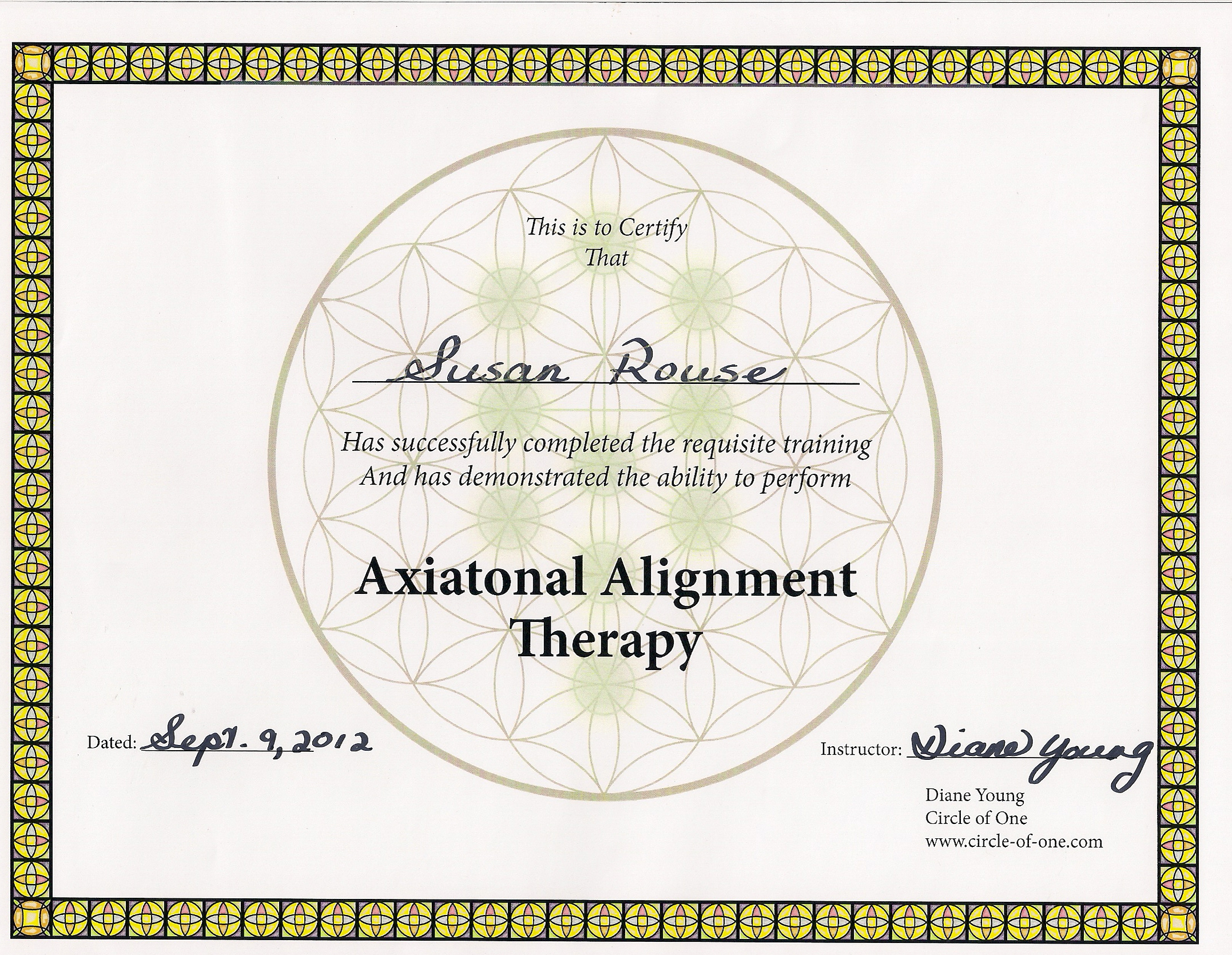 Axiatonal Alignment Therapy Certificate